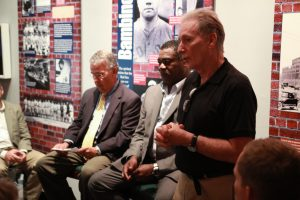 'Executive Director Mike Gibbons (right) introduces the special guests of the evening.' from the web at 'http://baberuthmuseum.org/wp-content/uploads/2015/09/IMG_6388-300x200.jpg'