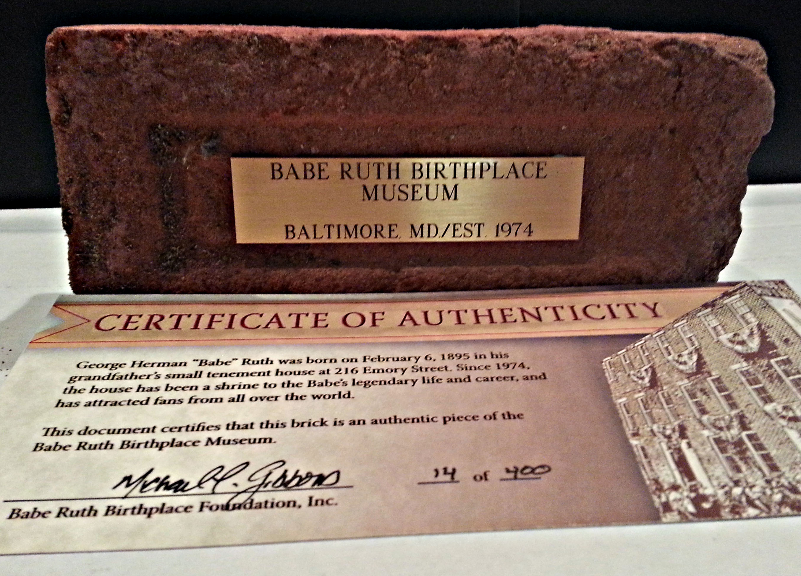 Babe Ruth Museum Brick  Babe Ruth Birthplace Museum -8767